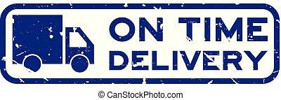 blauwe , aflevering, plein, grunge, postzegel, tijd, rubber, vrachtwagen, achtergrond, zeehondje, woord, witte , pictogram