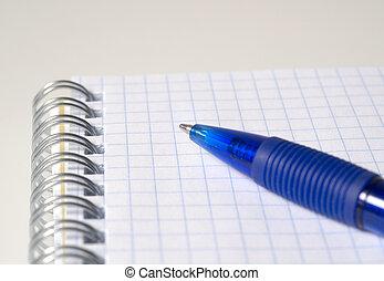 blauwe , afsluiten, pen, aantekenboekje, op