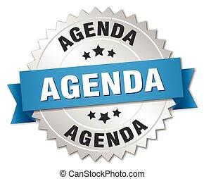 blauwe , agenda, badge, zilver, lint, 3d