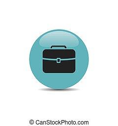 blauwe, aktentas, achtergrond, witte, bel, pictogram