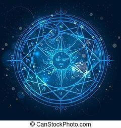 blauwe , alchimie, magisch, cirkel, achtergrond