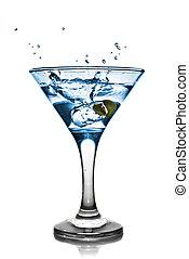 blauwe , alcohol, cocktail, met, gespetter, vrijstaand, op...