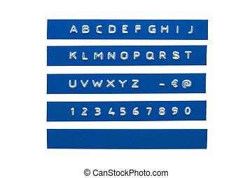 blauwe , alfabet, embossed, cassette, plastic