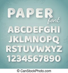 blauwe , alphabet., papier, getallen, achtergrond, brieven, witte
