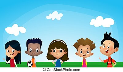 blauwe , anders, geitjes, banner., hemel, illustratie, vector