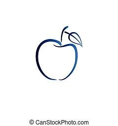 blauwe , appel, logo