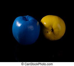 blauwe , apple., appel, gele