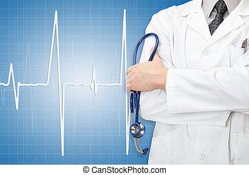 blauwe , arts, hand, stethoscope, achtergrond,...