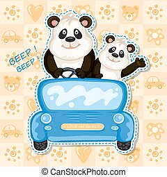 blauwe auto, papa, panda, baby