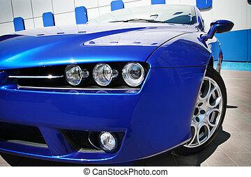 blauwe auto, sportende