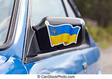 blauwe auto, sportende, spiegel