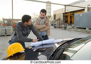 blauwe auto, twee, bouwsector, afdrukken, plan, bonett, ingenieur