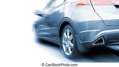 blauwe auto, vrijstaand, achtergrond, witte , sportende