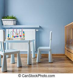 blauwe , baby, kamer, kinderbed