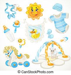 blauwe , baby, set, speelgoed