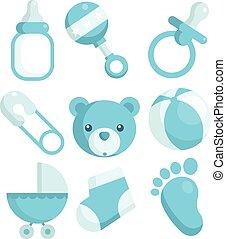 blauwe , baby stortbad, iconen