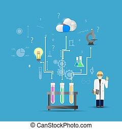blauwe , background.(big, iconen, wetenschap, chemisch, infographic, samenhangend, geneeskunde, buizen, version)