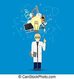 blauwe , background.(big, iconen, wetenschap, idee, stapel, lamp, infographic, geneeskunde, version)
