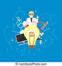 blauwe , background.(big, iconen, wetenschap, stapel, lamp, infographic, geneeskunde, version)