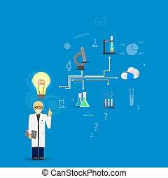 blauwe , background.(big, wetenschap, idee, lamp, infographic, geneeskunde, version)