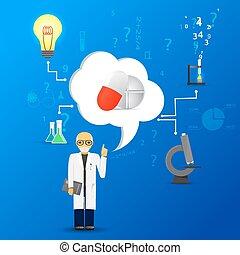 blauwe , background.(big, wetenschap, pillen, infographic, toespraak, geneeskunde, version), wolk