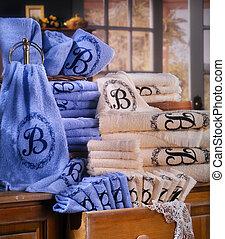 blauwe , baddoek, set, bruine