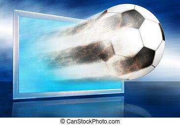 blauwe bal, voetbal, screen., door, uitgaan