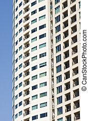 blauwe , balkons, stucco, beige, rijhuis, toren
