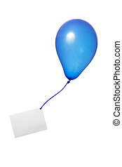 blauwe ballon, lint, begroetende kaart