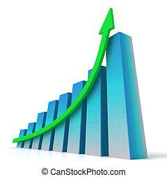 blauwe , bar, gestegen, winst, tabel, optredens