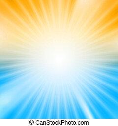 blauwe , barsten, licht, op, gele achtergrond