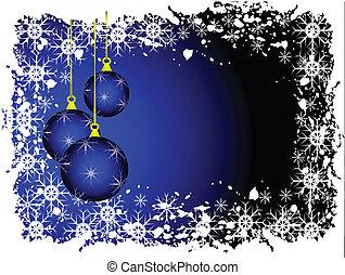 blauwe , baubles, abstract, illustratie, vector, kerstmis