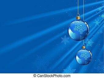 blauwe , baubles, licht, achtergrond, balken, kerstmis