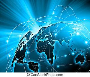 blauwe , beeld, globe
