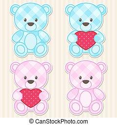 blauwe , beren, kleuren, roze, teddy