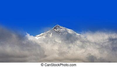 blauwe berg, hemel, piek, achtergrond, alpien