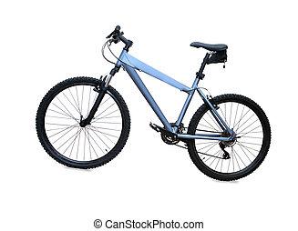 blauwe berg, op, vrijstaand, fiets, achtergrond, witte