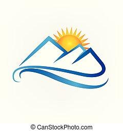 blauwe bergen, en, ondergaande zon , logo