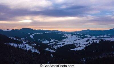 blauwe bergen, hyper, wolken, besneeuwd, wrakkigheid, hemel,...