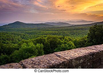blauwe bergen, kam, appalachian, pa, gezien, ondergaande zon