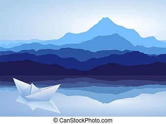 blauwe bergen, meer, en, papier, scheeps