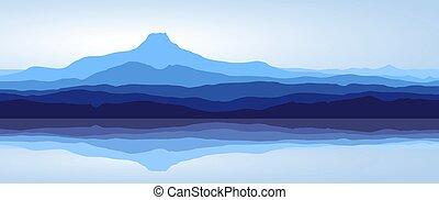 blauwe bergen, met, meer, -, panorama