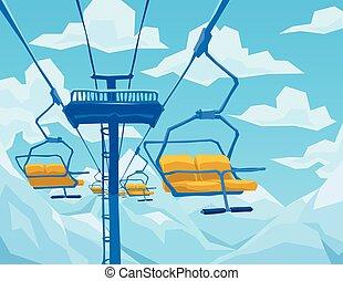 blauwe bergen, winter, sky., lift, scène, ski, landscape