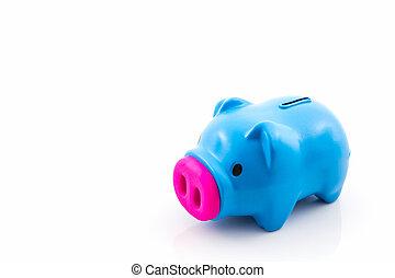 blauwe , besparing, bank, piggy