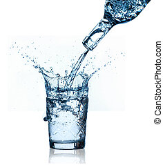 blauwe , bespattend water, achtergrond., glas, witte