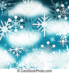 blauwe , bevroren, winter, achtergrond, hemel, snowflakes, ...