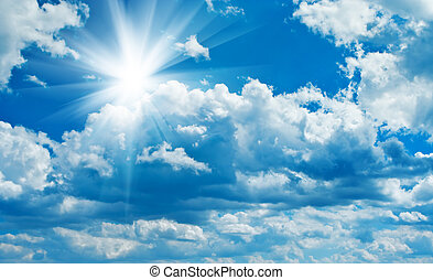 blauwe , bewolkte hemel, met, zon