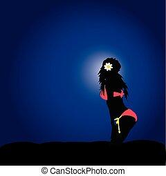 blauwe , bikini, silhouette, meisje, achtergrond