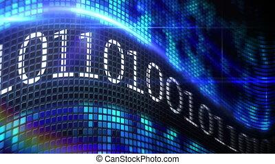 blauwe , binair, scherm, code, pixel