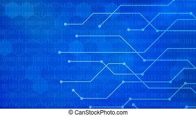 blauwe , binaire code, netwerk, achtergrond, futuristisch